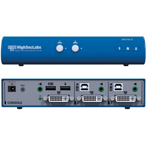 High Sec Labs SK21D-3 Secure 2-Port DVI-I Video KVM Switch