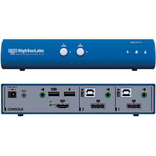High Sec Labs SK21P-3 Secure 2-Port DisplayPort to HDMI Video KVM Switch
