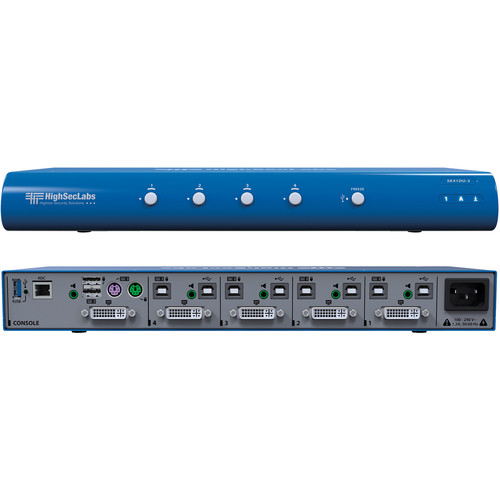 High Sec Labs SK41DU-3 Secure 4-Port DVI-I Video KVM Switch with fUSB Ports