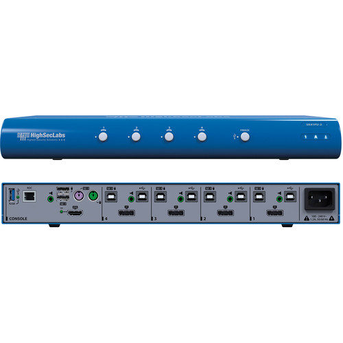 High Sec Labs SK41PU-3 Secure 4-Port DisplayPort to HDMI Video KVM Switch with fUSB Ports