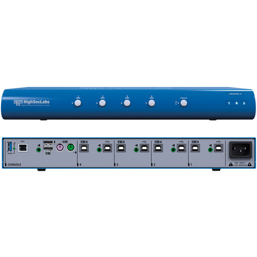 High Sec Labs SM40NU-3 Secure 4-Port KM Switch with fUSB Ports