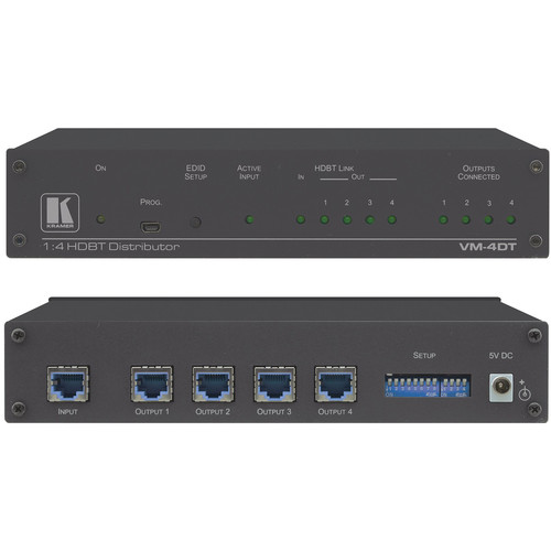 Kramer VM-4DT 1x4 4K60 4:2:0 Long-Reach HDBaseT Distribution Amplifier