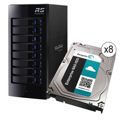 HighPoint RocketStor 6318A 40TB (8 x 5TB) 8-Bay Thunderbolt 2 RAID Enclosure with Drives