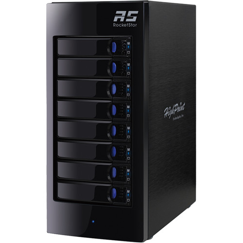 HighPoint RocketStor 6318A 64TB (8 x 8TB) 8-Bay Thunderbolt 2 RAID Enclosure with Drives