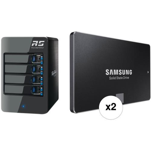 HighPoint RocketStor 6314A 1TB 4-Bay Thunderbolt 2 RAID Enclosure with SSDs Kit (2 x 500GB)