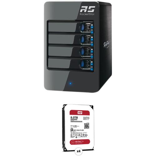 HighPoint RocketStor 6314A 32TB 4-Bay Thunderbolt 2 RAID Enclosure and Drives Kit (4 x 8TB)
