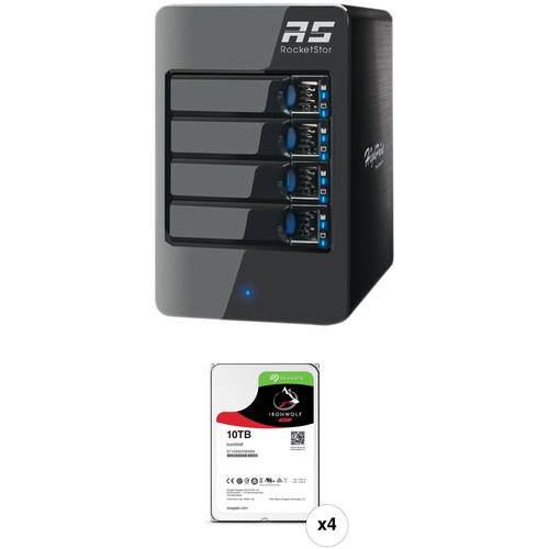 HighPoint RocketStor 6314A 40TB 4-Bay Thunderbolt 2 RAID Enclosure and Drives Kit (4 x 10TB)