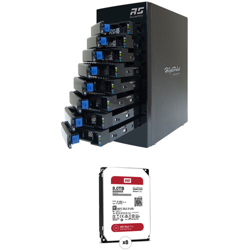 HighPoint RocketStor 6418AS 64TB 8-Bay Mini-SAS RAID Enclosure with Drives Kit (8 x 8TB)