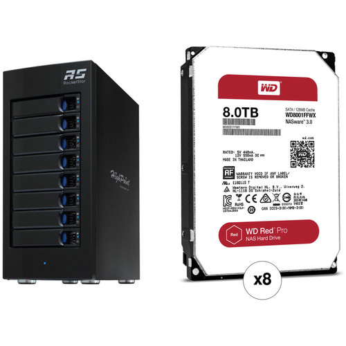 HighPoint RocketStor 6618A 64TB 8-Bay Thunderbolt 3 RAID Enclosure with HDDs Kit (8 x 8TB)