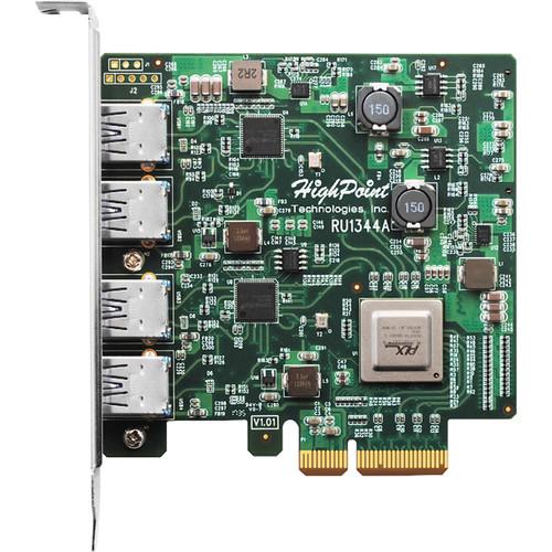 HighPoint RocketU 1344A 4-Port USB 3.1 Gen 2 PCIe 3.0 x4 HBA Controller Card
