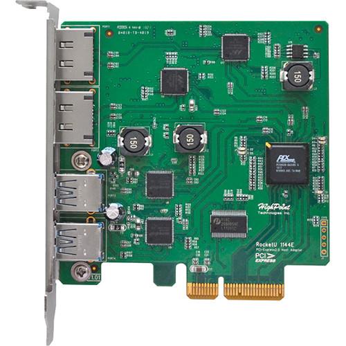 HighPoint RocketU 1144E USB 3.1 Gen 1 + 6 Gb/s eSATA PCIe 2.0 Controller Card