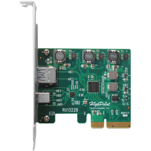 HighPoint Rocketu 1322B 2-Port (Usb-C  Usb-A) Usb 3.1 Gen 2 Pcie Controller Card
