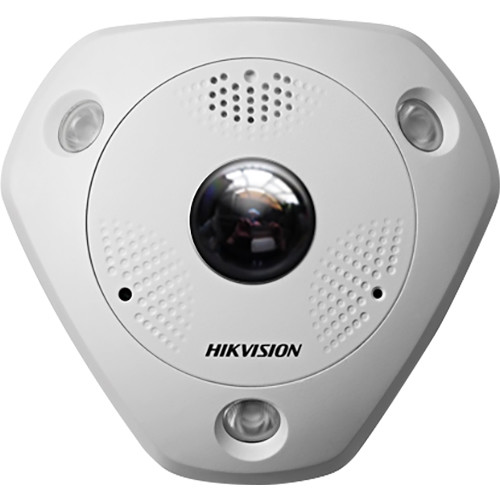 Hikvision 12MP Fisheye Camera,1.98mm/F2.4,360 Pan.View,H.264,12VDC/PoE,15M IR,Audio,Alarm I/O,IP67/IK10