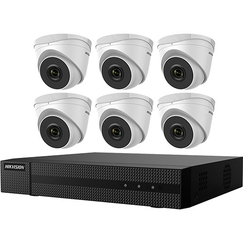 Hikvision 8-Channel NVR and 6 4MP Outdoor Turret Cameras with 2.8mm Fixed Lens