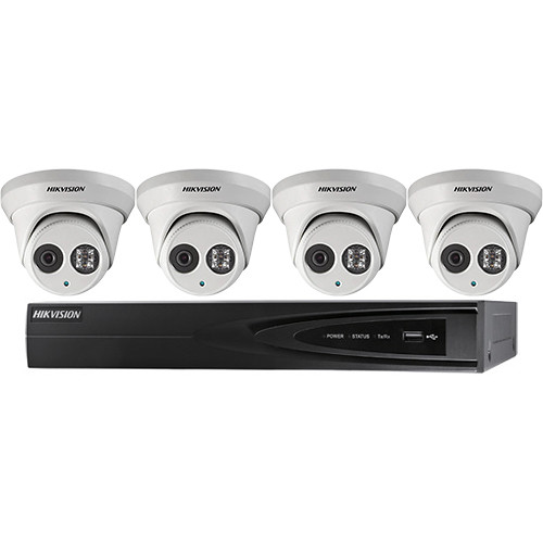 Hikvision Performance Series 4-Channel 5MP NVR with 1TB HDD and 4 4MP Outdoor Turret Cameras Kit