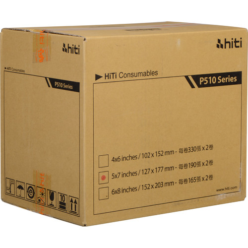 "HiTi 5 x 7"" Ribbon & Paper Case with Reusable Ribbon Holder for P510 Series Photo Printers (2 Rolls)"