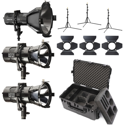 HIVE LIGHTING 1-Hornet 200-C PAR Spot LED, 2-Wasp 100-C 3-Light Kit with Hard Rolling Case