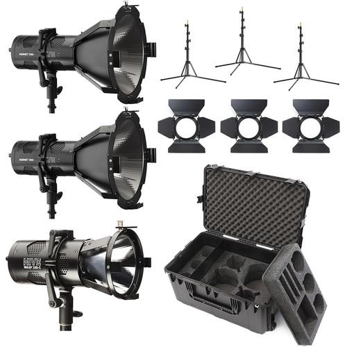 HIVE LIGHTING 2-Hornet 200-C PAR Spot LED, 1-Wasp 100-C 3-Light Kit with Hard Rolling Case