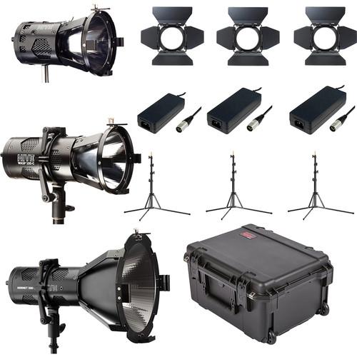 HIVE LIGHTING Bee 50-C PAR Spot, Wasp 100-C PAR Spot, Hornet 200-C Fresnel 3-Lght Kit with Case