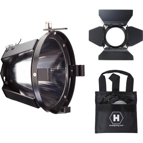 HIVE LIGHTING Par Reflector/ Barndoors and 3 Lens Set (Medium, Wide, Super Wide) Bag for Bee 50-C/ Wasp 100-C