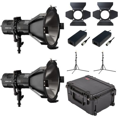 HIVE LIGHTING Hornet 200-C PAR Spot LED 2-Light Kit with Hard Rolling Case & Padded Dividers
