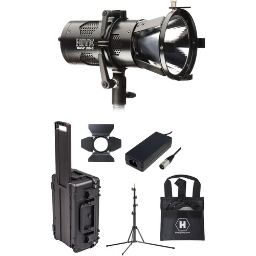 HIVE LIGHTING Wasp 100-C LED Spot Light Travel Kit with Stand & Case (Padded Dividers)