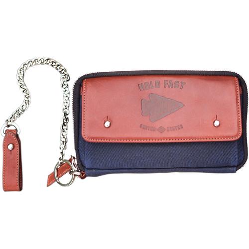 HoldFast Gear Explorer American Bison Leather Wallet (Navy/Chestnut)