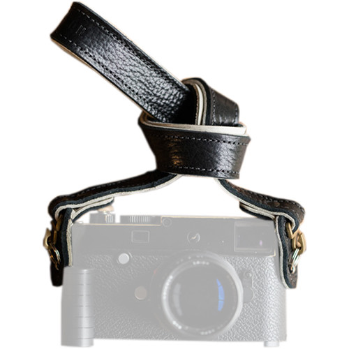 """HoldFast Gear 46"""" Maven Classic American Bison Leather Neck Strap for Camera (Black)"""