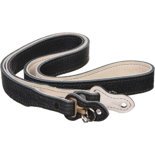"""HoldFast Gear 52"""" Maven Classic American Bison Leather Camera Strap with Hooks & Pads (Black)"""
