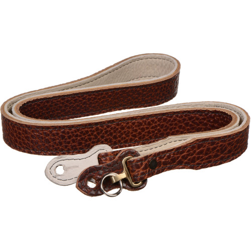 """HoldFast Gear 46"""" Maven Classic American Bison Leather Camera Strap with Hooks & Pads (Peanut)"""