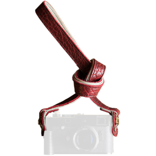 """HoldFast Gear 52"""" Maven Classic American Bison Leather Camera Strap with Hooks & Pads (Red)"""