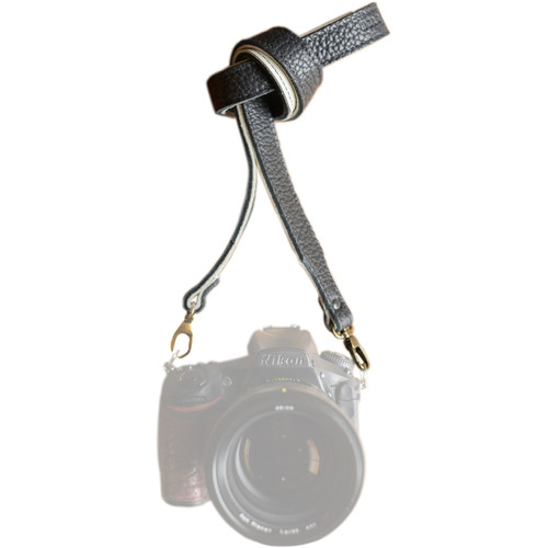 """HoldFast Gear 52"""" Maven Classic American Bison Leather Camera Strap with Universal Clips (Black)"""
