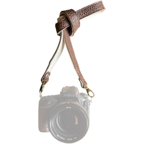 """HoldFast Gear 46"""" Maven Classic American Bison Leather Camera Strap with Universal Clips (Mahogany)"""
