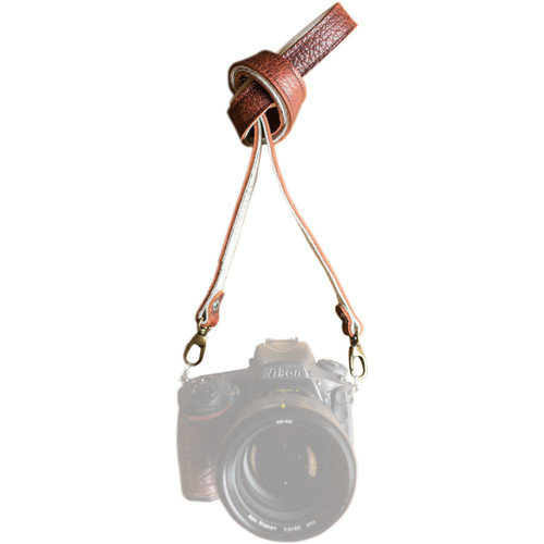 "HoldFast Gear 46"" Maven Classic American Bison Leather Camera Strap with Universal Clip (Peanut)"