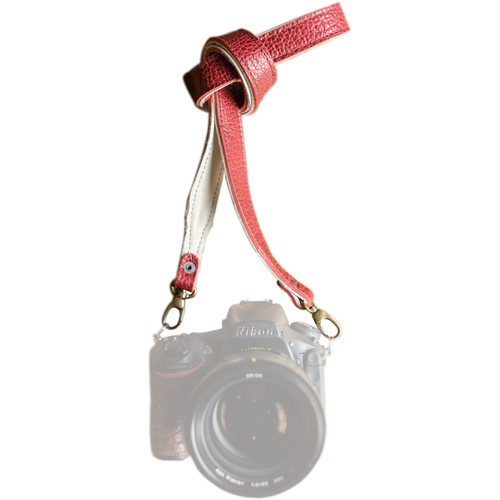 """HoldFast Gear 46"""" Maven Classic American Bison Leather Camera Strap with Universal Clips (Red)"""