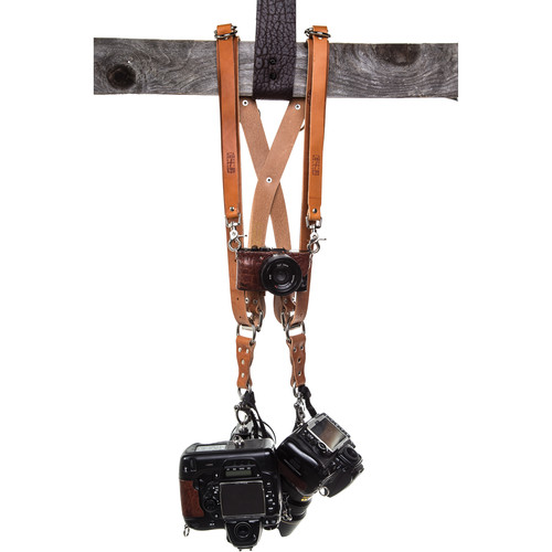 HoldFast Gear Money Maker Three-Camera Harness with Silver Hardware (English Bridle, Tan, Large)