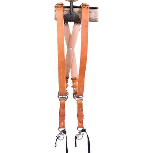 HoldFast Gear Money Maker Two-Camera Harness with Silver Hardware (English Bridle, Tan, Medium)