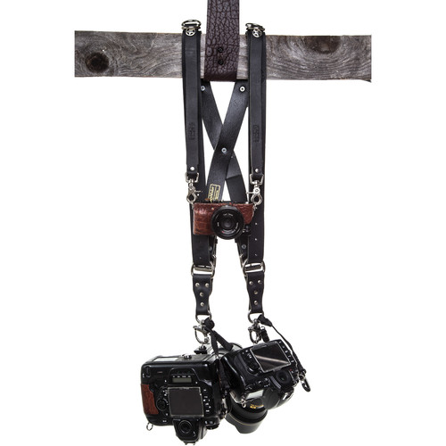 HoldFast Gear Money Maker 3-Camera Leather Harness (Black, Silver Hardware, Large)