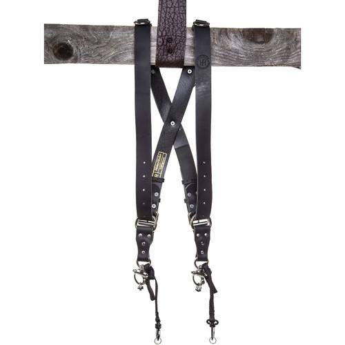 HoldFast Gear Money Maker 2-Camera Leather Harness (Black, Silver Hardware, Large)