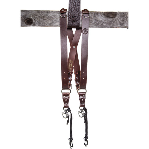 HoldFast Gear Money Maker 2-Camera Leather Harness (Burgundy, Silver Hardware, Medium)