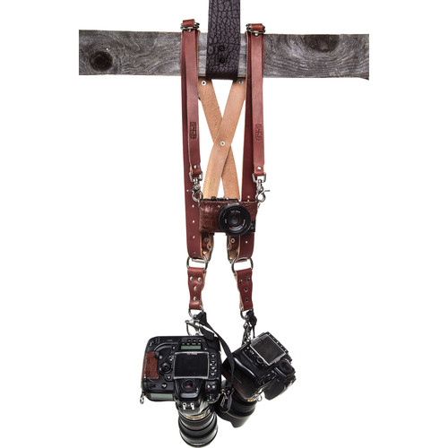HoldFast Gear Money Maker Three-Camera Harness with Silver Hardware (English Bridle, Chestnut, Small)