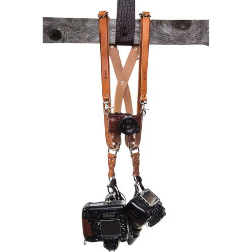 HoldFast Gear Money Maker Three-Camera Harness with Silver Hardware (English Bridle, Tan, Medium)