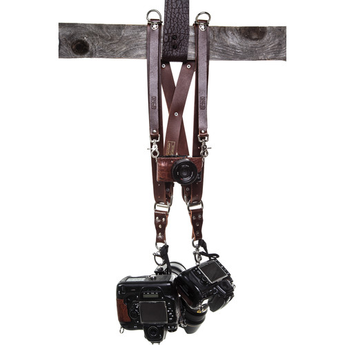HoldFast Gear Money Maker 3-Camera Leather Harness (Burgundy, Silver Hardware, Small)