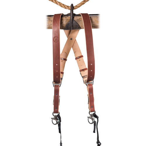HoldFast Gear Money Maker Two-Camera Harness with Black Hardware (English Bridle, Chestnut, Medium)