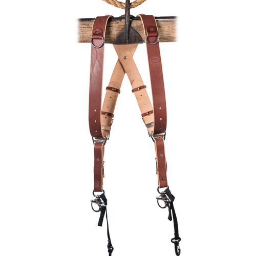 HoldFast Gear Money Maker Two-Camera Harness with Black Hardware (English Bridle, Chestnut, Small)