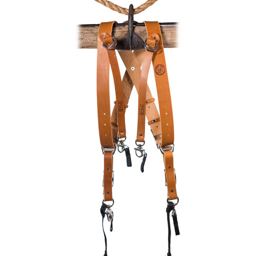 HoldFast Gear Money Maker Three-Camera Harness with Black Hardware (English Bridle, Tan, Medium)