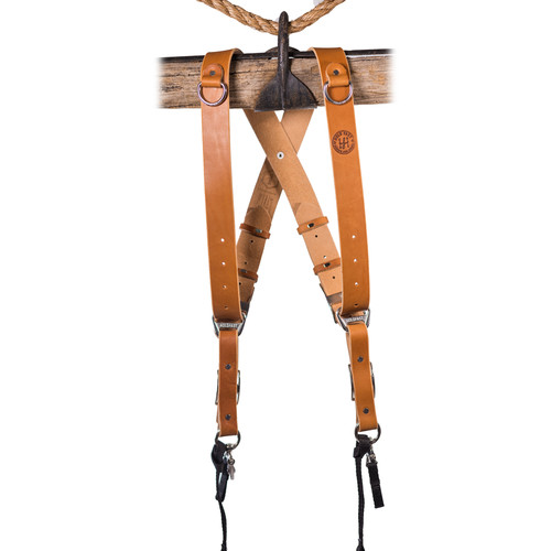 HoldFast Gear Money Maker Two-Camera Harness with Black Hardware (English Bridle, Tan, Large)
