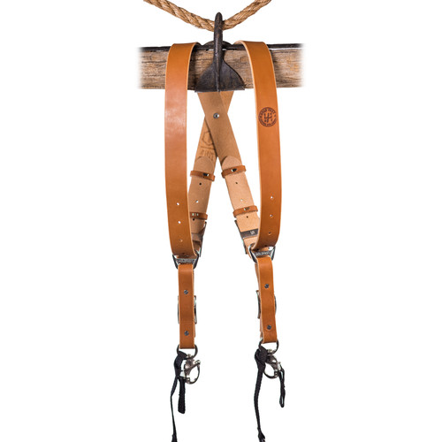 HoldFast Gear Money Maker Two-Camera Harness with Black Hardware (English Bridle, Tan, Small)