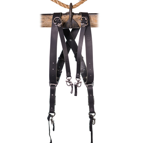 HoldFast Gear Money Maker 3-Camera Leather Harness (Black, Black Hardware, Small)