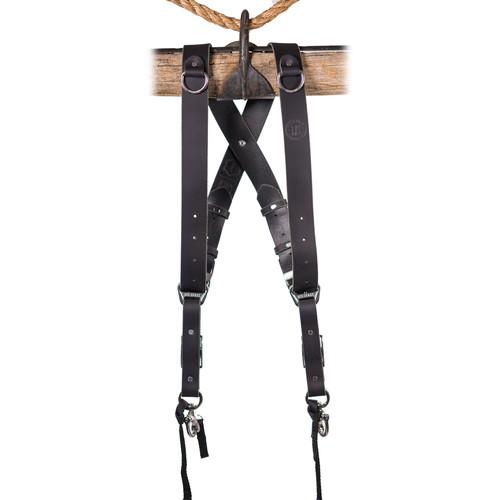 HoldFast Gear Money Maker 2-Camera Leather Harness (Black, Black Hardware, Large)